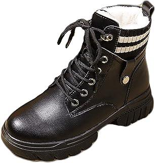 HUSTLE Bottes de Neige Chaussures Hiver Fourrée Ski Fourrure Chaude Bottes de Pluie Bottines à Lacets,Noir,39