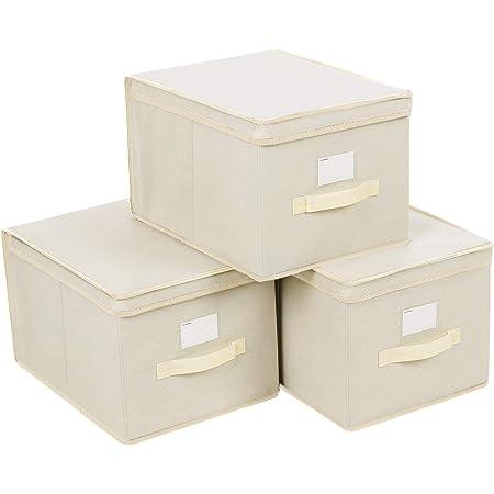 SONGMICS Lot de 3 Boîtes de Rangement Pliables avec couvercles, Cubes en Tissu Non-tissé avec Porte-étiquettes, 40 x 30 x 25 cm, BeigeRFB03M