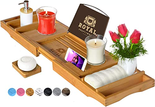 Luxury Bathtub Caddy Tray, One or Two Person Bath and Bed Tray, Bonus Free Soap Holder (Natural)