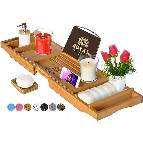 Luxury Bathtub Caddy Tray, 1 or 2 Person Bath and Bed Tray, Bonus Free Soap Holder (Natural)