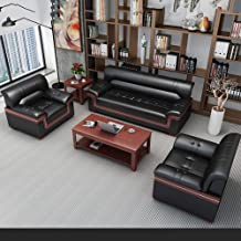 Leather Sofa Couches Business Reception Office Sofa Coffee Table Combination Visitor Sofa Leisure Office Sofa