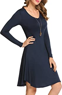 Hotouch Women Casual Long Sleeve Knee Length Solid A-Line Dress with Pocket