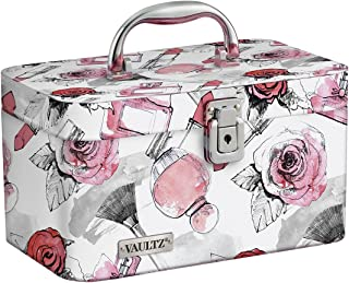 Vaultz VZ03809 Locking Train Case, Makeup Artist Case, Brush Holder and Adjustable Interior, Key Lock and Carry Handle, 10.1 x 6 x 6.2 Inches, Cosmetic Roses