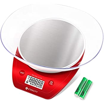 Etekcity 0.1g Food Kitchen Gram Scale Bowl, Gifts for Baking, Cooking, Meal Prep, Diet, Keto, and Weight Loss, 11lb, Red Stainless Steel