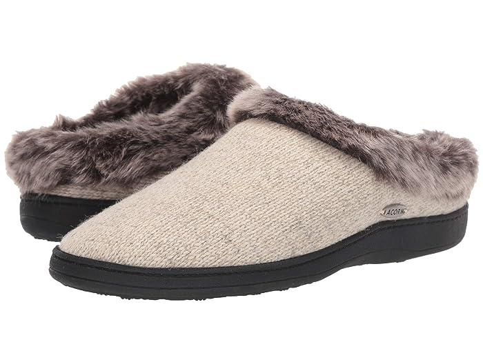 Acorn  Chinchilla Clog Ragg (Charcoal Heather) Womens Slippers