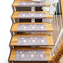 Staircase Carpet,Woodden Indoor Stair Carpet Self-Adhesive PVC Stair Treads Staircase Non-Slip Mat Rug Cover Pad for Home ...
