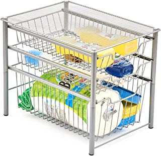 EZOWare 3-Tier Pull Out Sliding Drawer Multipurpose Storage Organizer Rack Ideal for Use Under the Sink, Bathroom, Cabinet, Office Desks, Counter top, Pantry, and Kitchen - Silver