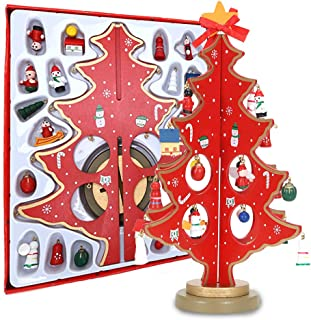 Luxsego Tabletop Christmas Tree Wooden DIY Home Decor with 25 Miniature Christmas Ornaments 11.8 Inches for Desk, Show Window,Christmas Party.