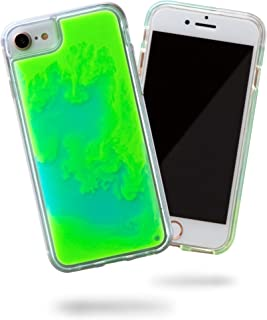 SteepLab Flowing Neon Sand Liquid Case for iPhone 8 & iPhone 7 & iPhone 6 - Full Body Protection with Raised Bezel - Mint and Neon Green Glow