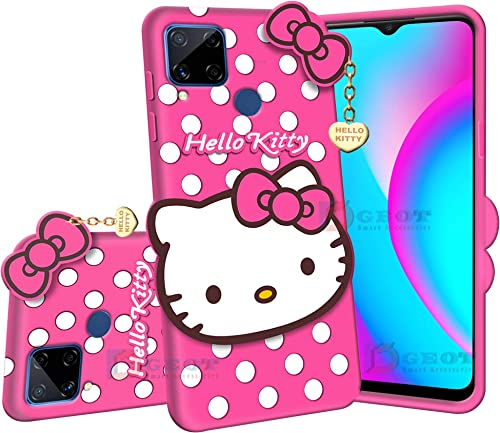 Dgeot Hello Kitty Back Case Cover Compatible with Realme C15 3D Cute Hello Kitty Soft Silicone Rubber Girls Favourite with Pendant Compatible for Realme C15 Pink