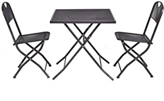 Set of 3 Outdoor Patio Bistro Furniture Set Steel Mesh Frame Outdoor Bistro Square Table #629E