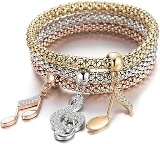اساور قابلة للتمدد من بوربي جوجو، 3 قطع، سلسلة باللون الذهبي / الفضي/ الذهبي الوردي، مع سوار ساحر متعدد الطبقات للنساء