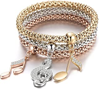 Mothers Day 3PCS Gold/Silver/Rose Gold Tone Corn Chain Stretch Bracelets for Women