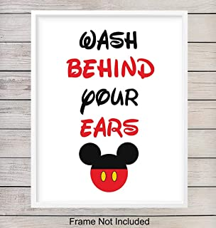 Wash Behind Your Ears Typography - Wall Art Print - Ready to Frame (8X10) Photo - Perfect Gift For Disney World Fans - Disneyworld - Great For Bathroom and Home Decor