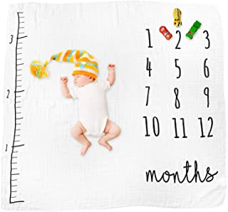 DELICUSH Baby Milestone Blanket, 100% Cotton, Large 50'' x 50'', Soft & Breathable, Photo pros, Monthly Blanket, Baby Registry, Simple Neutral Backdrop
