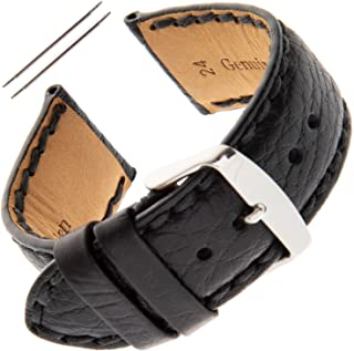 Gents 18-24mm Padded Stitched Buffalo-Grain Watch Strap PS52