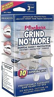 Plackers Grind No More - Protector bucal dental para moler dientes, bruxismo y aclaramiento de los dientes, sin BPA, paquete de 10 protectores