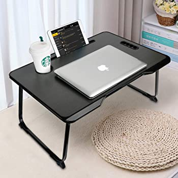 Laptop Bed Tray Table with Handle, Astory Portable Laptop Desk Notebook Stand Reading Holder with Foldable Legs & Cup Slot & Tablet Groove for Bed/Sofa/Couch/Floor (Black)