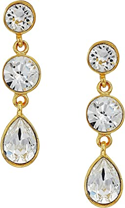 Kenneth Jay Lane - Gold/Crystal 3 Drop Pierced Earrings