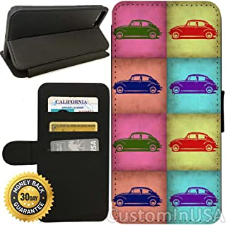 Flip Wallet Case for iPhone 7 (VW Beetle Pop Art) with Adjustable Stand and 3 Card Holders | Shock Protection | Lightweight | by Innosub