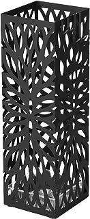 SONGMICS Porte parapluies en Métal, Carré, Support pour Parapluies, avec Un Plateau et Crochets, 49 x 15,5 x 15,5 cm, Noir...