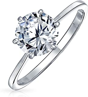 Simple 2.5CT 6 Prong Brilliant Cut AAA CZ Solitaire Engagement Ring For Women 1MM Thin Band 925 Sterling Silver