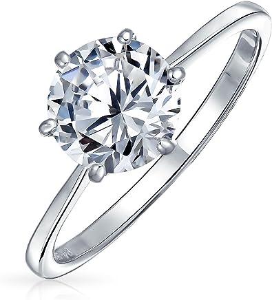 Bling Jewelry 贝灵珠宝 925纯银 圆形单粒锆石 订婚戒指 纽约直邮 【亚马逊海外卖家】