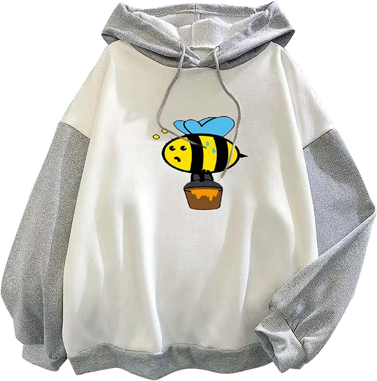 Women's Hooded Pullover Casual Crewneck Long Sleeve Cute Dinosaur Printed Sweater Ladies Patchwork Sweatshirt Tops