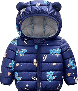 Happy Cherry-Newborn Boys Girls Rembourré Outwear Zip Warm Down Jacket Oreille À Capuche Cartoon Imprimer Tenues Automne H...