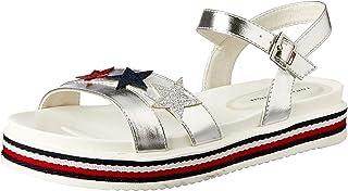 TOMMY HILFIGER Silver Star Sandal Girls Silver Star Sandal, Silver/Multicolor