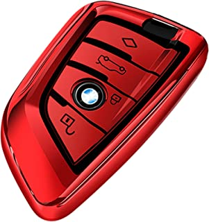 Uxinuo for BMW Key Fob Cover, Full Protection Soft TPU Key Fob Case Compatible with BMW X1 X2 X3 X5 X6 and 5 Series 2018 7 Series 2017 up 2 Series and 6 Series (GT) Keyless Entry, Red