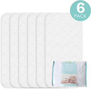 TILLYOU Portable Quilted Changing Pad Liners Waterproof, Ultra Soft Thick Breathable Changing Table Cover Liners, 11.5 X 23 Washable Reusable Changing Mats Sheet Protector, 6 Pack