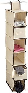 Relaxdays Étagère suspendue tissu pour armoire penderie HxlxP: 82 x 14,5 x 30 cm organiseur pliable 6 compartiments rangem...