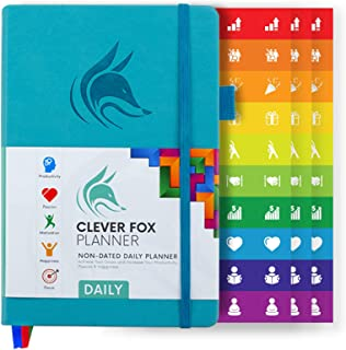 Clever Fox Planner Daily - Best Agenda & Daily Calendar to Boost Productivity, Happiness & Hit Your Goals in 2019 - Gratitude Journal Personal Daily Organizer - 5 x 8'' Undated, Turquoise (Daily)