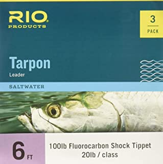 RIO Fly Fishing Tarpon 6' 60Lb Fluorocarbon Shock 3 Pack Fishing Leaders, Clear