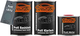 TRISTARcolor Autolack Set Dose spritzfertig für Audi LB7U Titangrau Metallic/Titan Gray Metallic Basislack + 2K Klarlack 2,5L