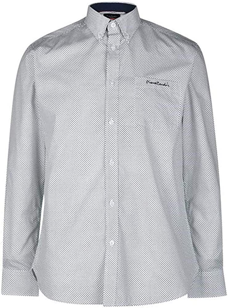 Pierre cardin, camicia da uomo a quadri, maniche lunghe, 65% poliestere, 35% cotone, white/navy