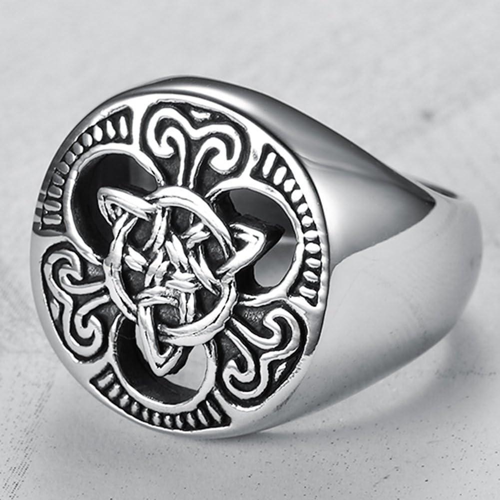 Stainless Steel Vikings Celtic Knot Signet Biker Ring