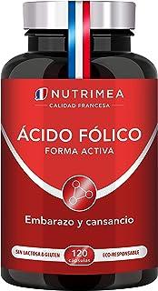 Ácido Fólico Vitamina B9 400mg por día l Para la Concepción y Mujeres en Embarazo Reducción de Fatiga   120 Cápsulas de Or...