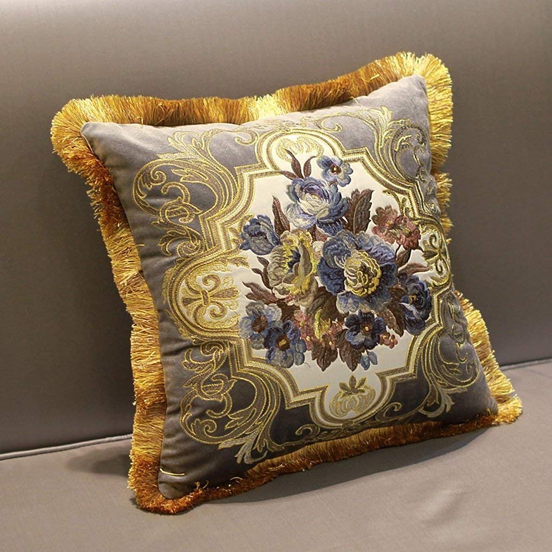 等価巨大酔って2J-QingYun Trade ヨーロッパの高級ソファー枕リビングルームのクッションベッドヘッドレストオフィス腰椎枕枕クッション (Color : 2, サイズ : 45*45cm)