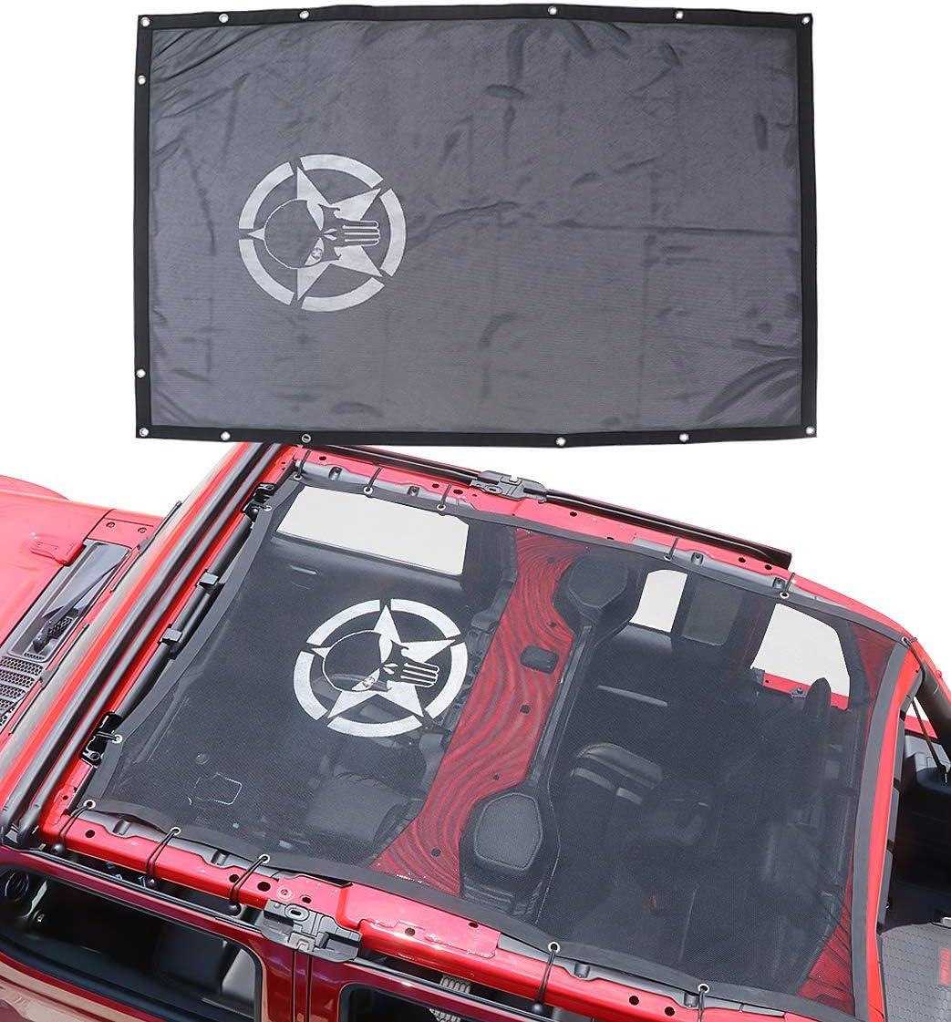 Sukemichi Full Mesh Sunshade Bikini Top Cover for Jeep Wrangler JL Sahara Rubicon 4 Door