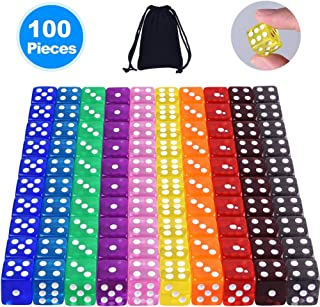 AUSTOR 100 Pieces 6 Sided Game Dice Set 10 Translucent Colors Square Corner Dice with a Free Pouch