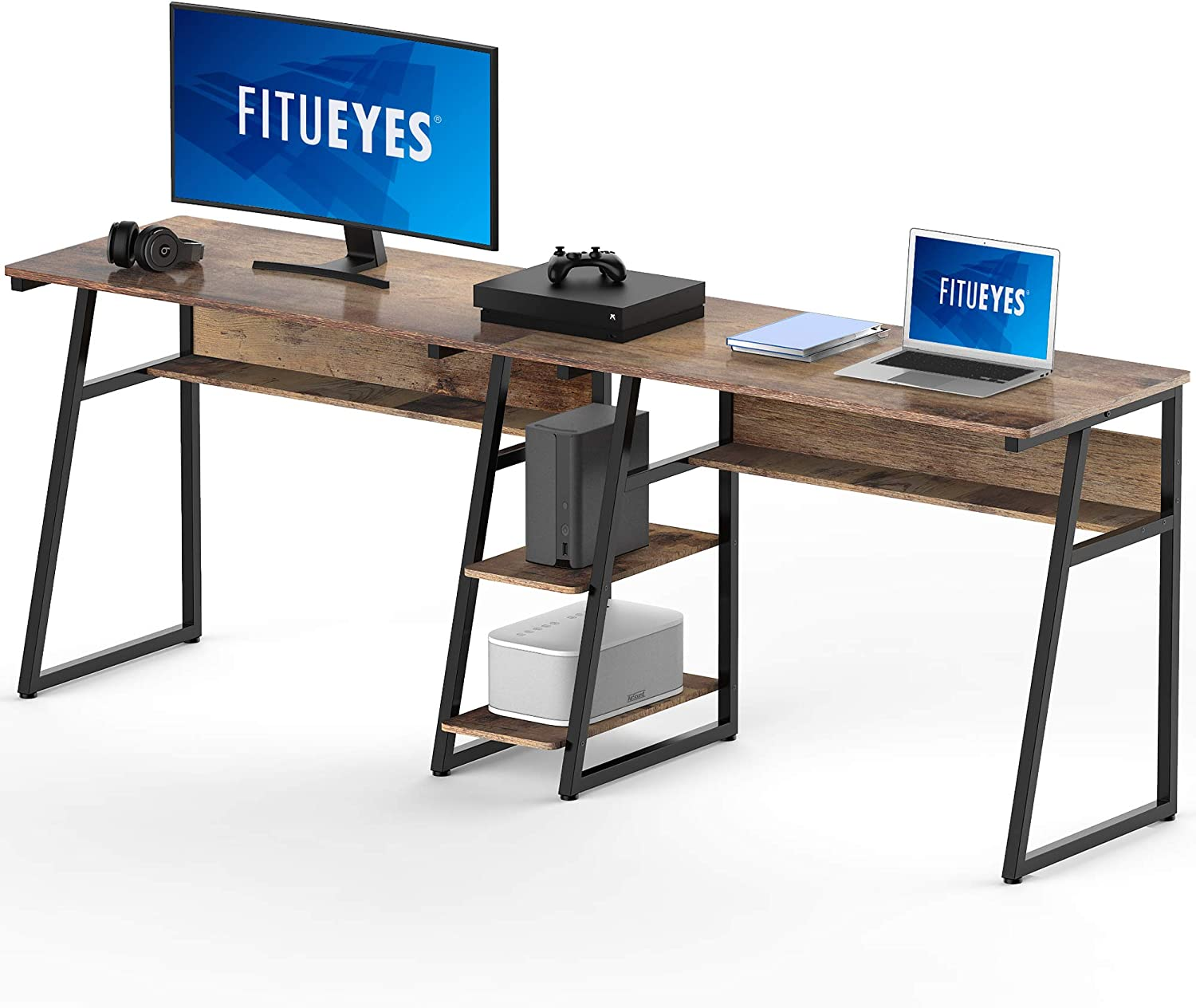 FITUEYES Opening large release sale Double Computer Desk with inch Shelves Storage Two Selling rankings 81