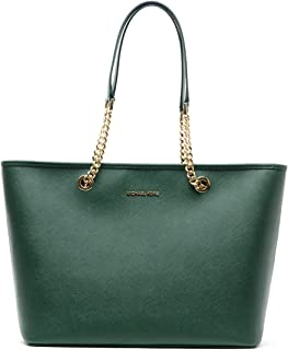 Michael Kors Jet Set Travel Chain Multifunction Moss Leather Tote
