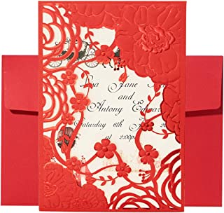 50pcs Wedding Invitation Cards with Envelopes Kit Laser Cut Printable Floral Invitation Card Elegant Invite Cards for Bridal Shower Engagement Birthday Party Baby Shower Christmas Graduation, Red