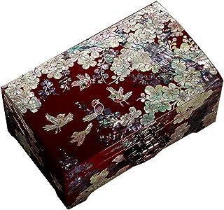صندوق تخزين مجوهرات خشبي/صندوق ورنيش منزلي بطبقتين/صندوق مجوهرات بسعة كبيرة مع قفل/هدية زفاف للسيدات (Color : Red, Size : ...