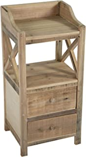 Nature by Kolibri - Cómoda de madera para jardín con estante de madera 2 cajones estrechos 70 x 33 x 28 cm