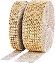 BTSD-home 1 Roll 4 Row 10 Yard and 1 Roll 8 Row 10 Yard Acrylic Rhinestone Diamond Ribbon for Wedding Cakes, Birthday Decorations, Baby Shower Events, Arts and Crafts Projects (2 Rolls, Gold)