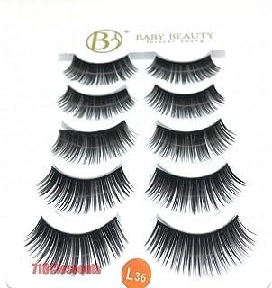 LED LEADER 5 Pairs Black Natural Fake Lashes,False Eyelashes Makeup Thick Natural Black Fake Eye Lashes,MultiPack Demi Wispies