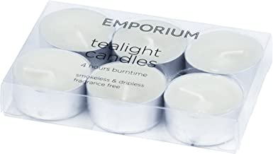 EMPORIUM APCAE107WH Set of 6 Tealight Candles 4 Hour Burn Time, White